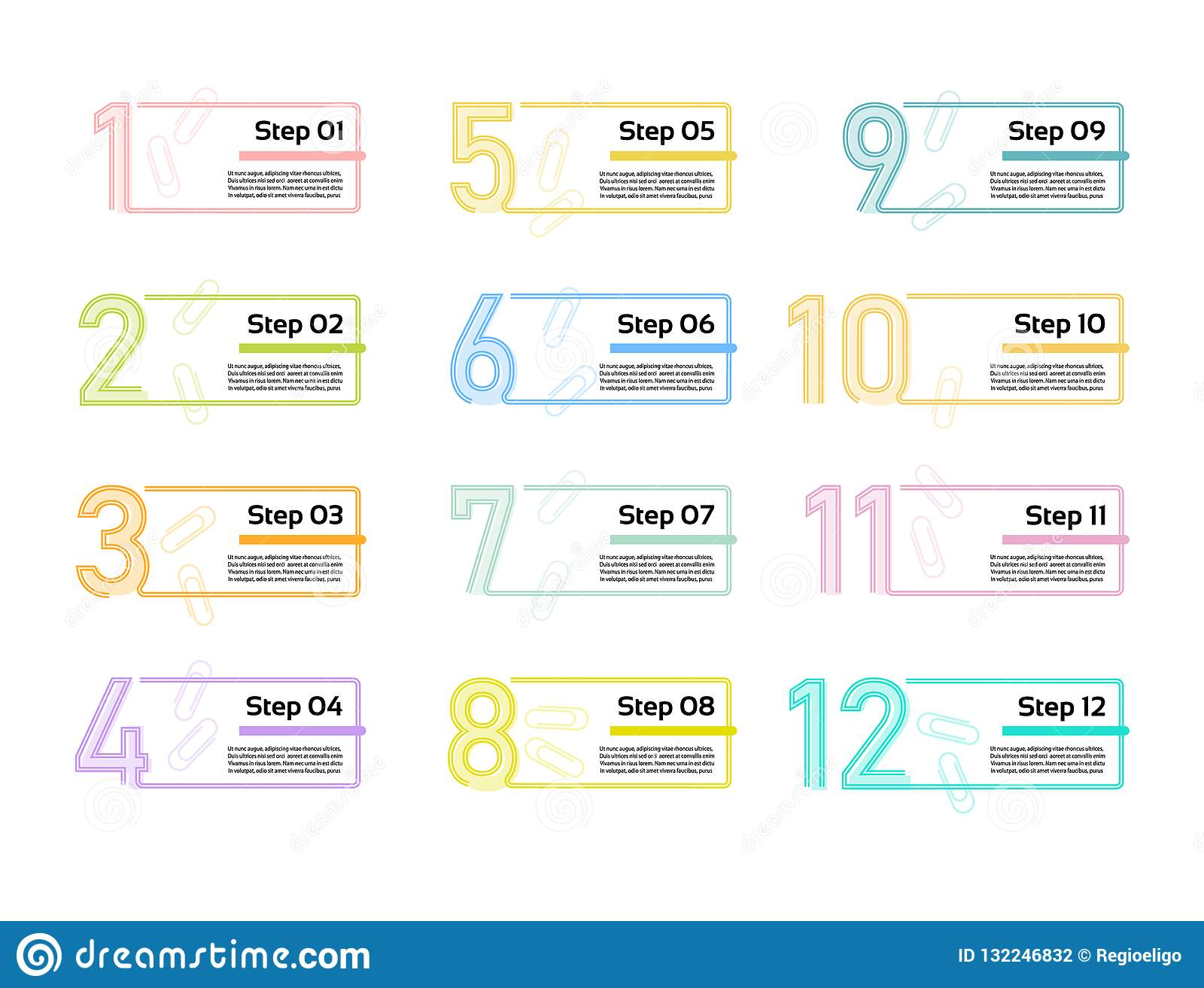 Thin line minimal Infographic design template. 12 options, steps. Can be used for process diagram, presentations, workflow layout