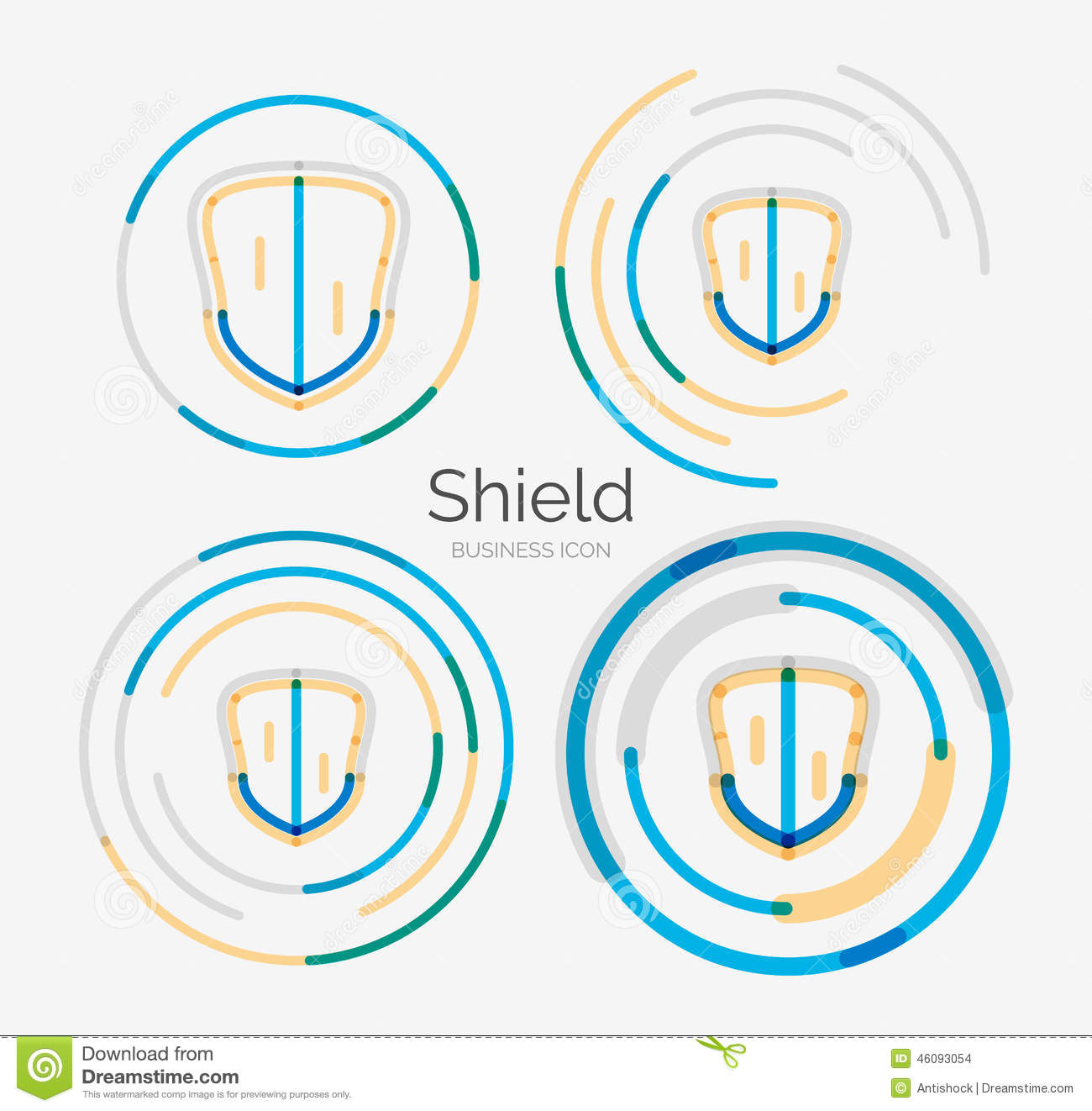 Shield design set royalty free stock photos image 5051988 - Thin Line Neat Design Logo Shield Icon Set Stock Images