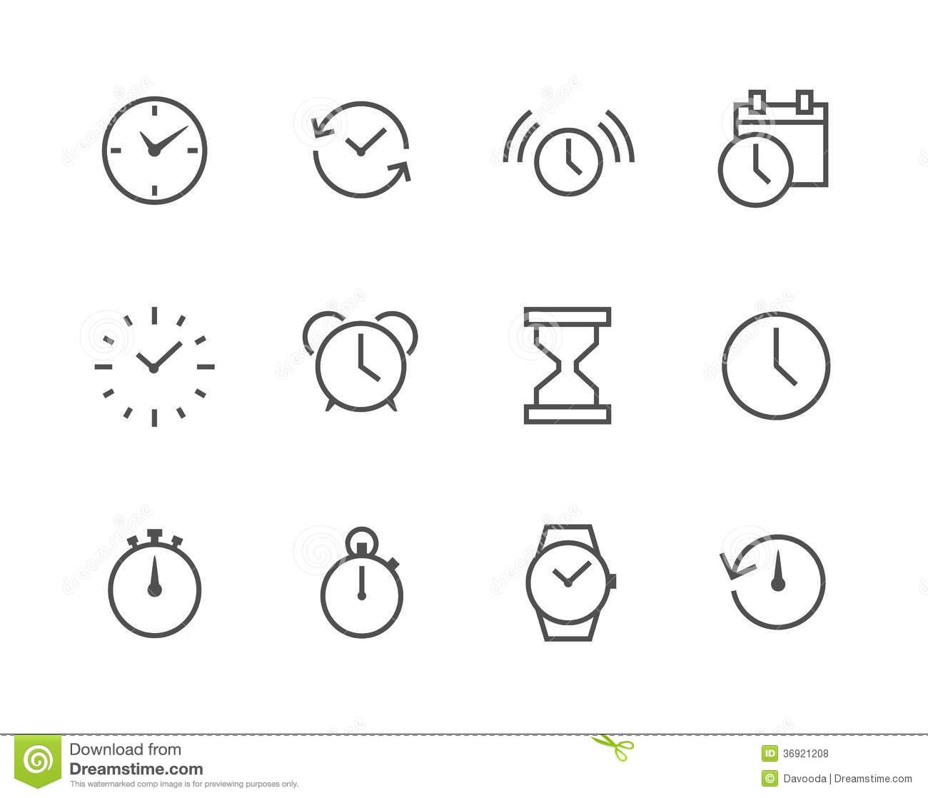 Thin Line Simple Icon Set Related To Time Royalty Free