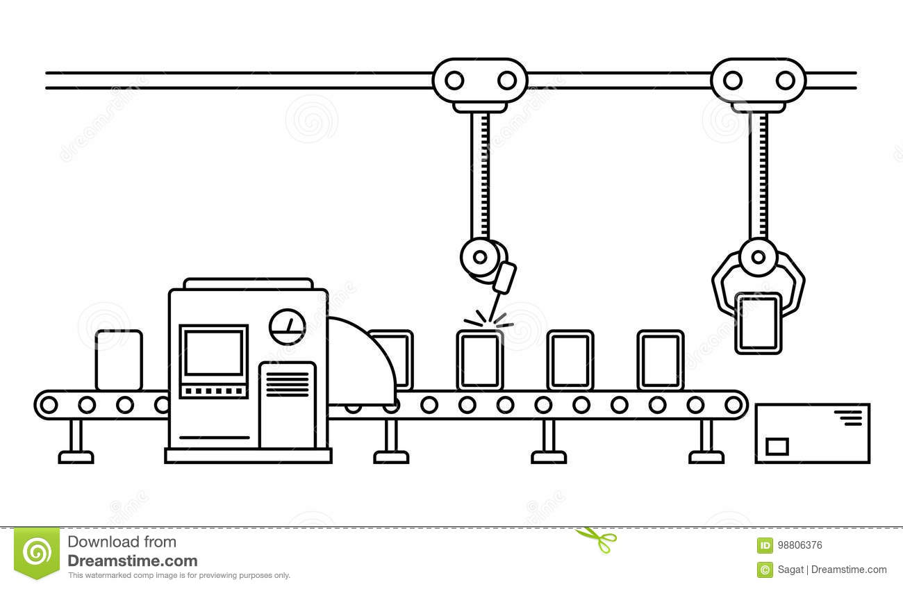 Thin Line Style embly Line. Stock Vector - Illustration ... Factory Line Drawing on