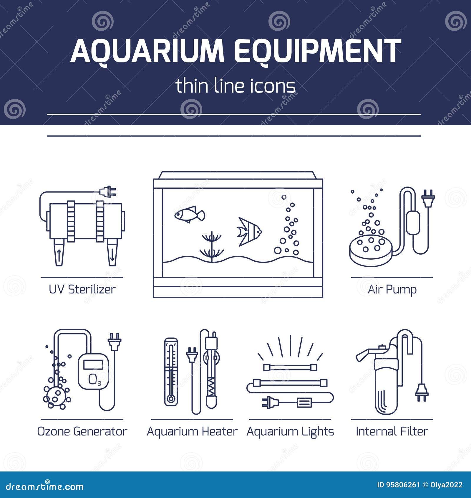 thin line vector icons aquarium equipment stock vector