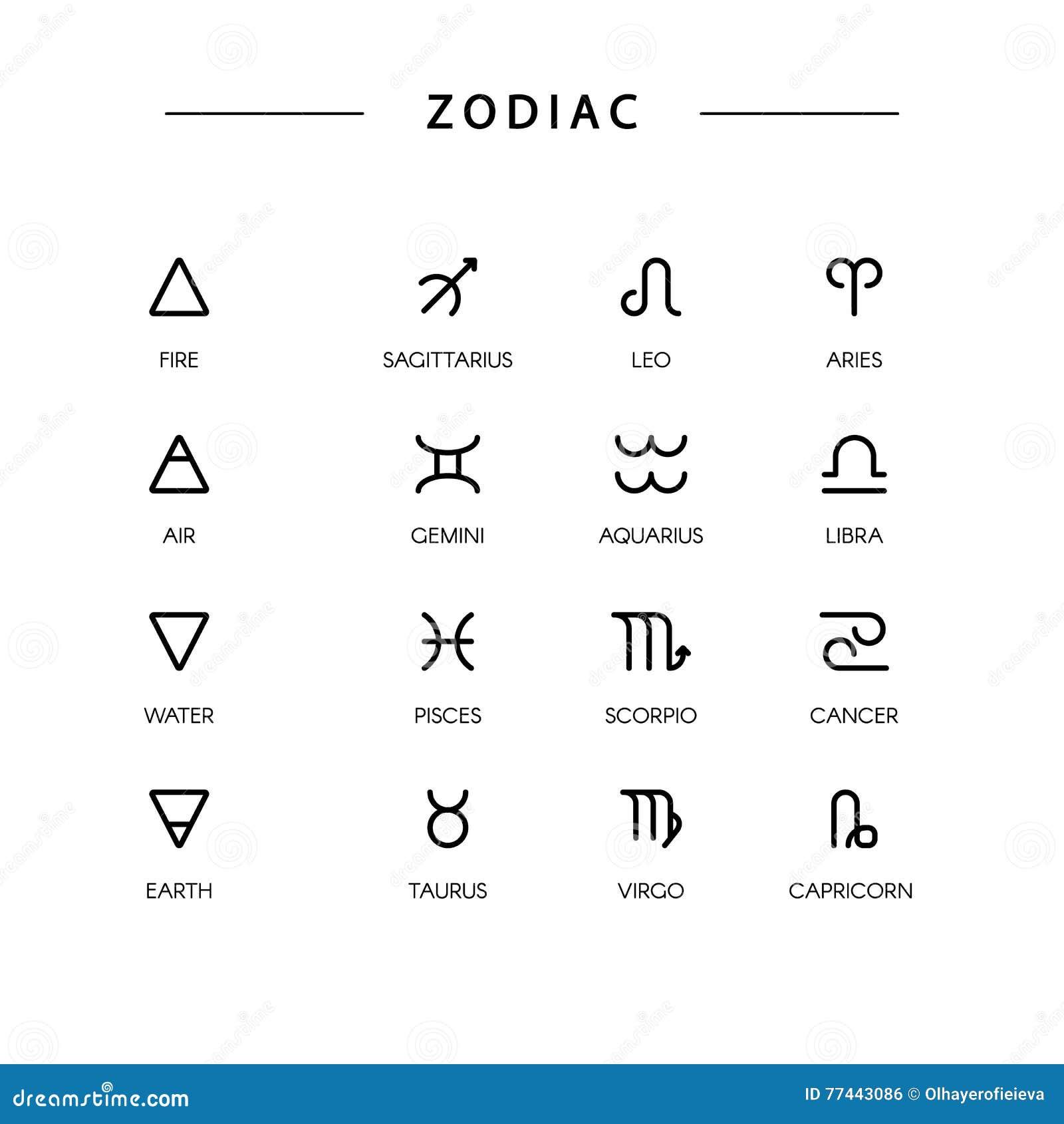 Thin Line Vector Zodiacal Symbols Stock Vector Illustration Of