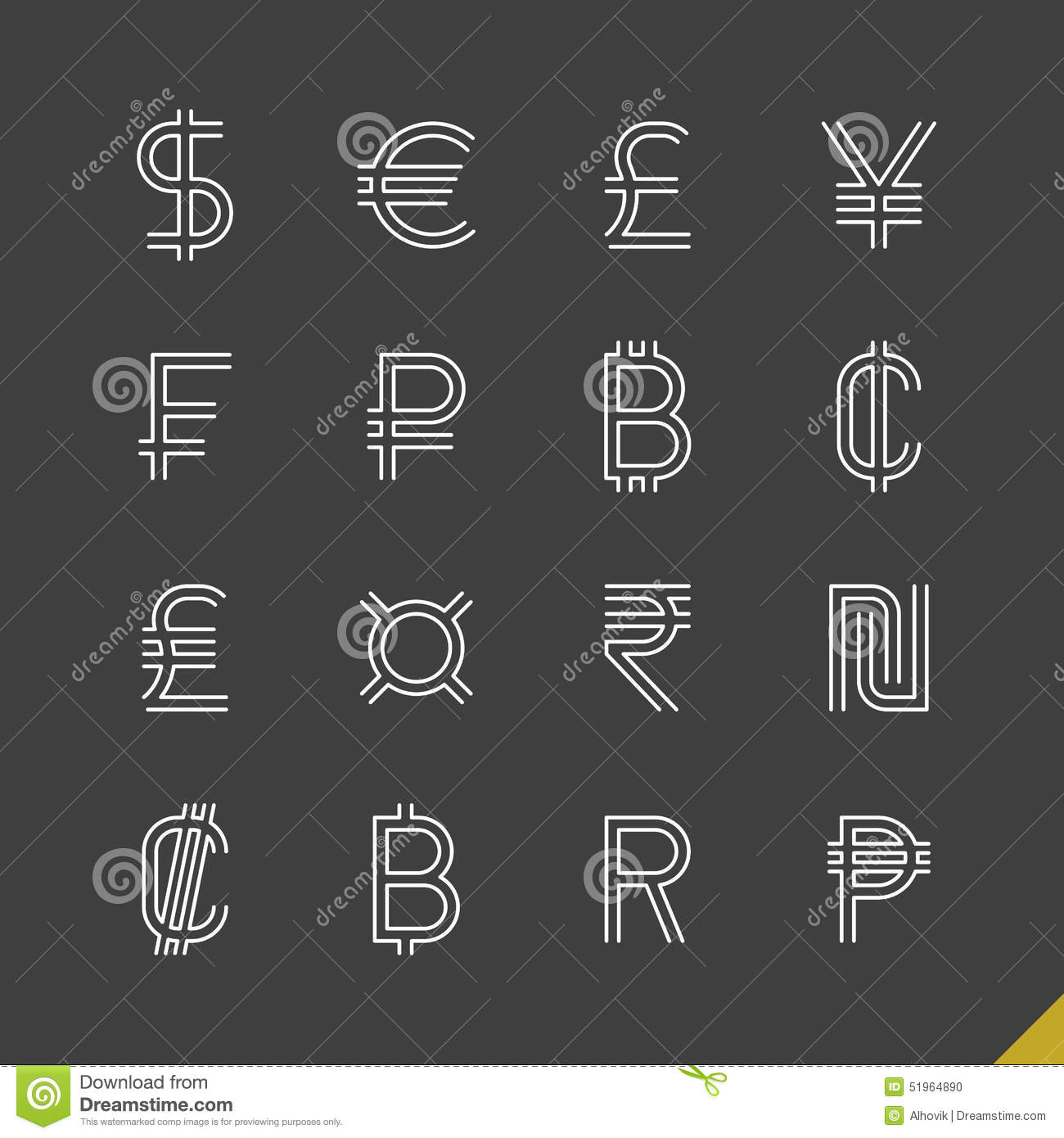 Thin Linear World Currency Symbols Icons Stock Vector Illustration