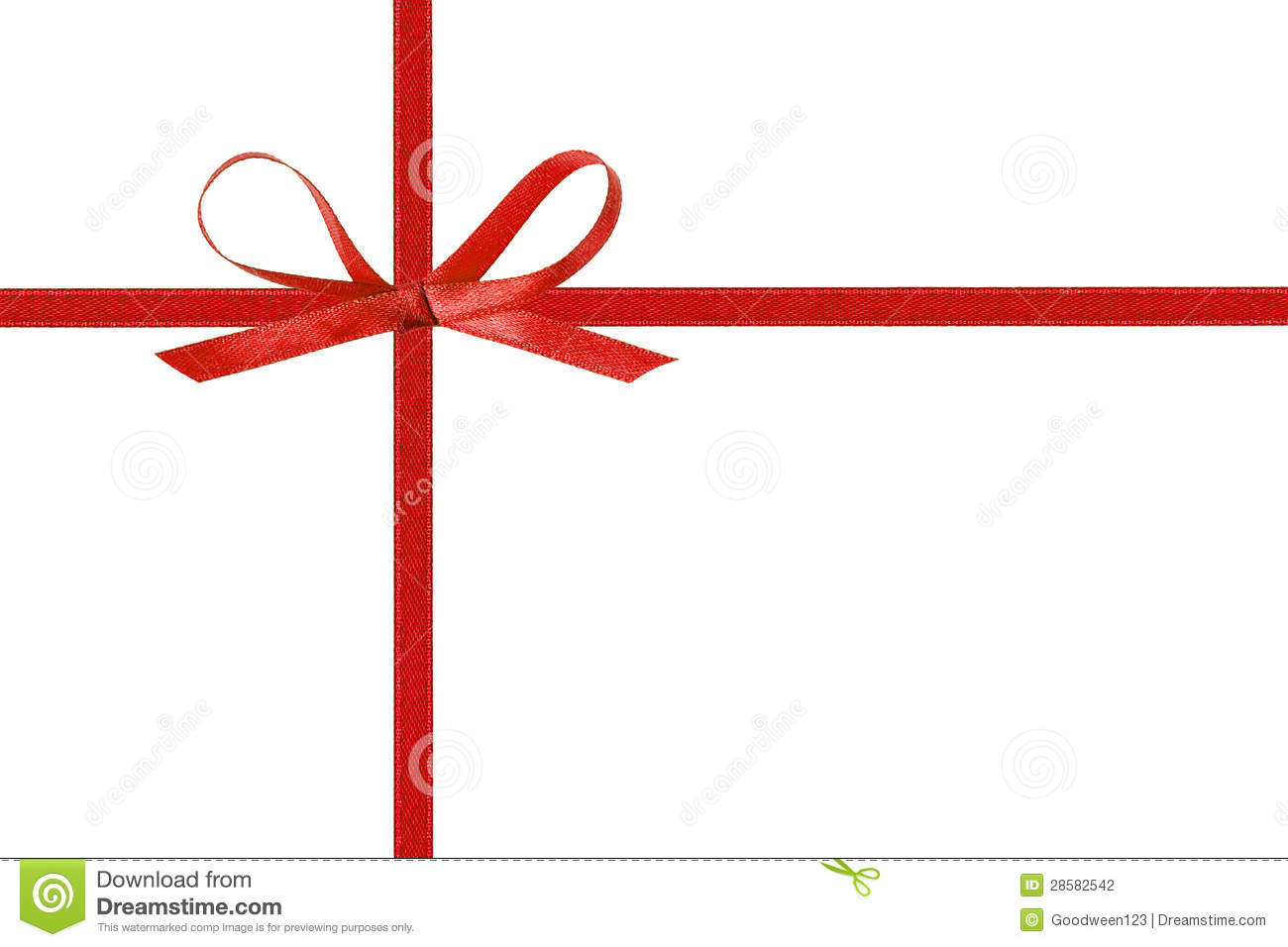 Thin Red Bow With Crossed Ribbon Stock Photo Image 28582542