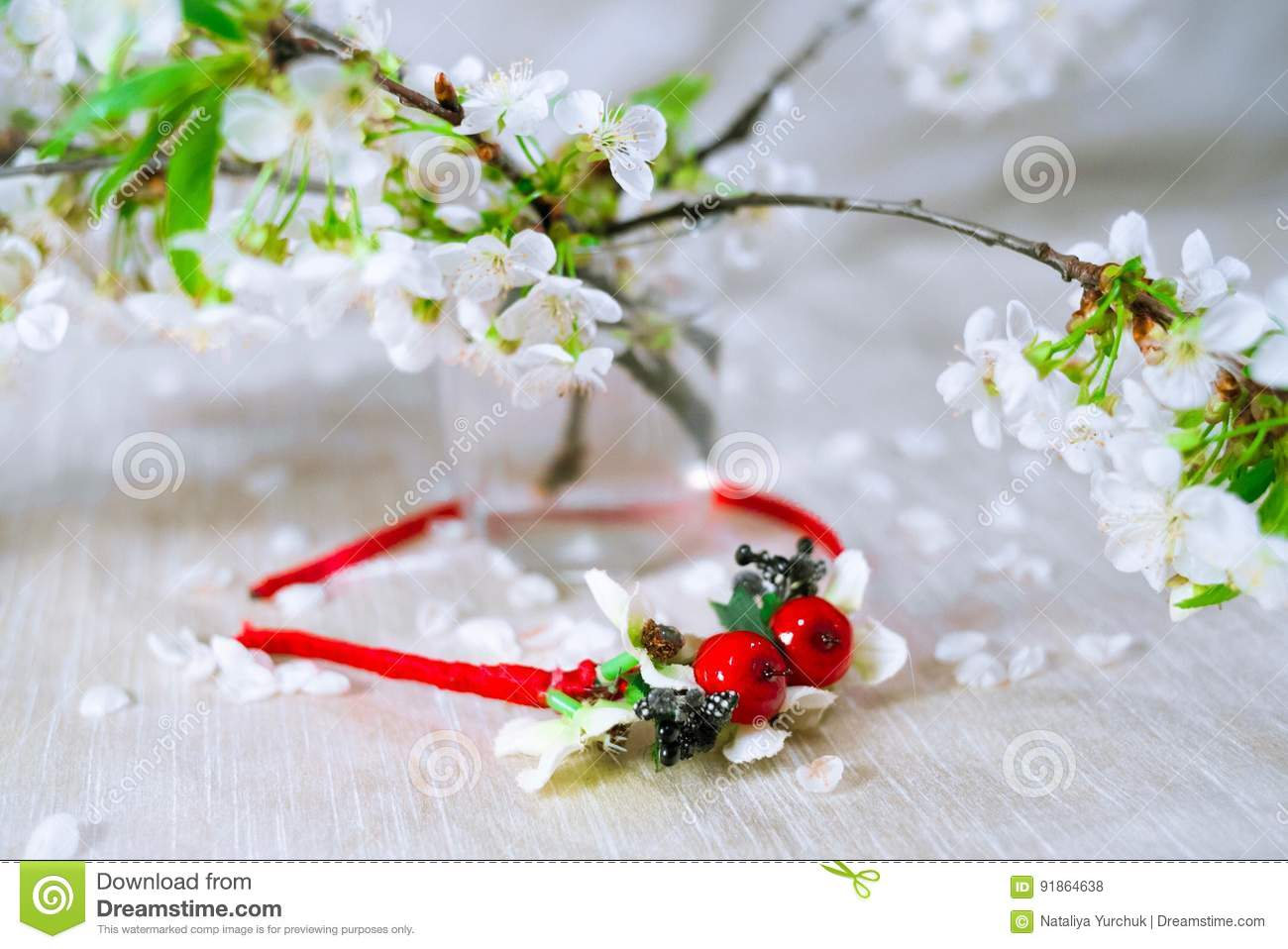 Thin red wreath with cherry blossom stock photo image of flower thin red wreath with cherry blossom flower crown izmirmasajfo