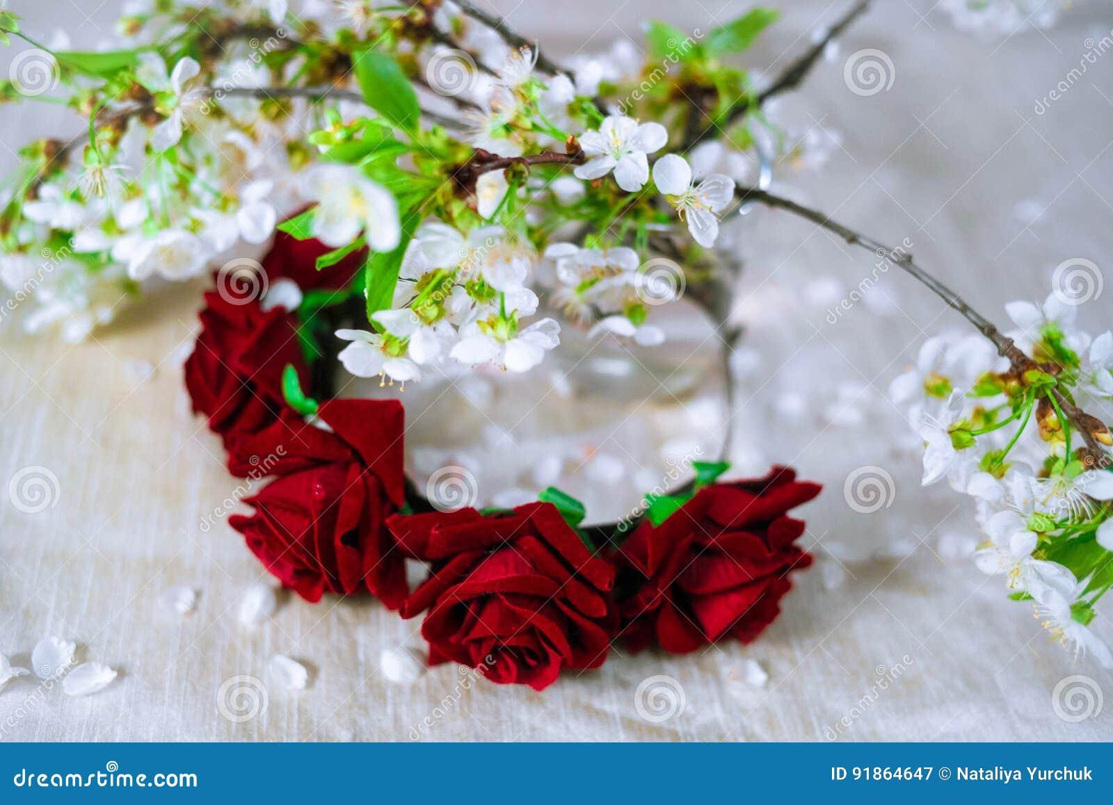 Thin red wreath with cherry blossom stock image image of roses download thin red wreath with cherry blossom stock image image of roses decoration izmirmasajfo