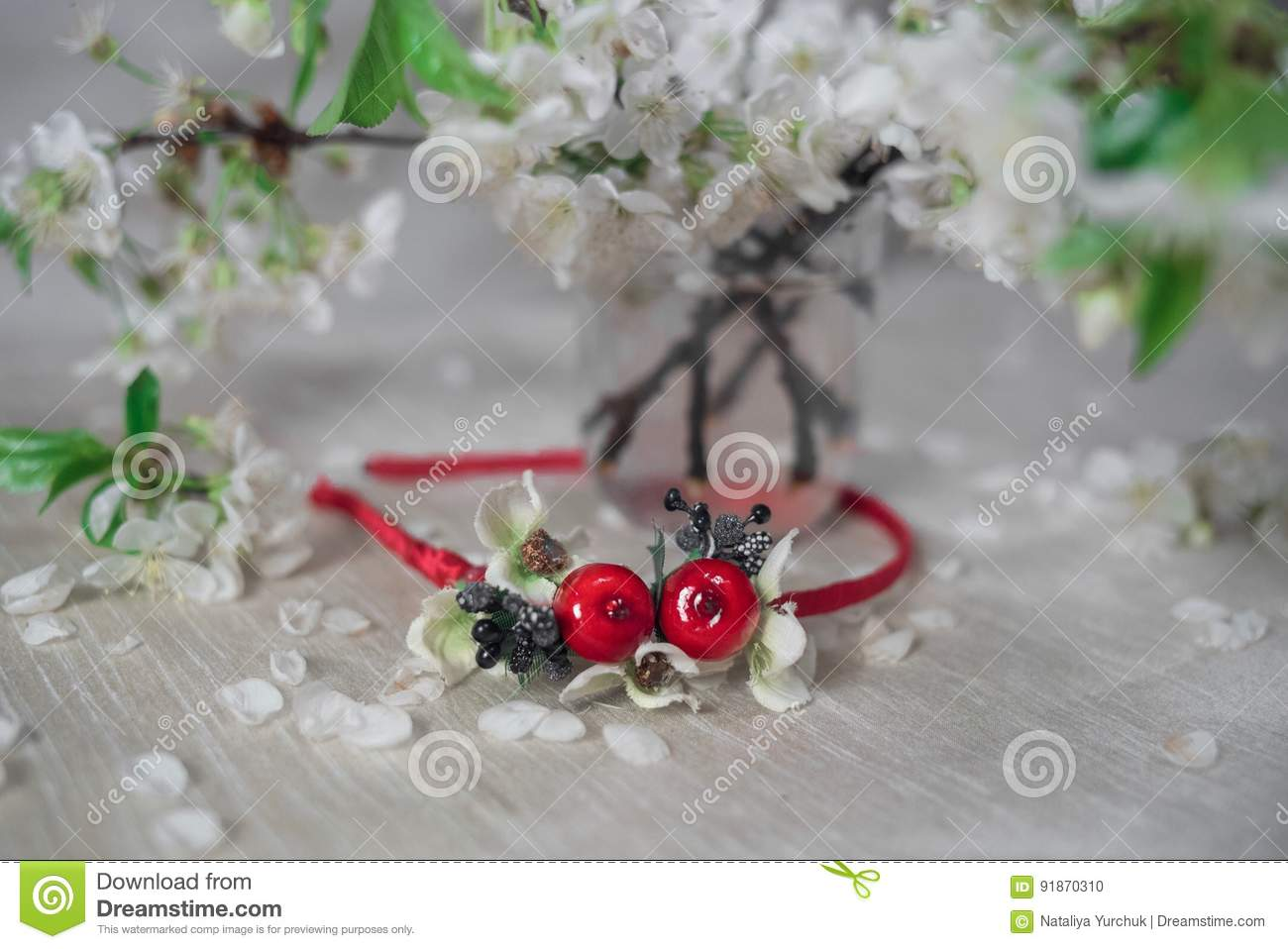 Thin red wreath with cherry blossom stock photo image of rose thin red wreath cherry blossom flower crown izmirmasajfo