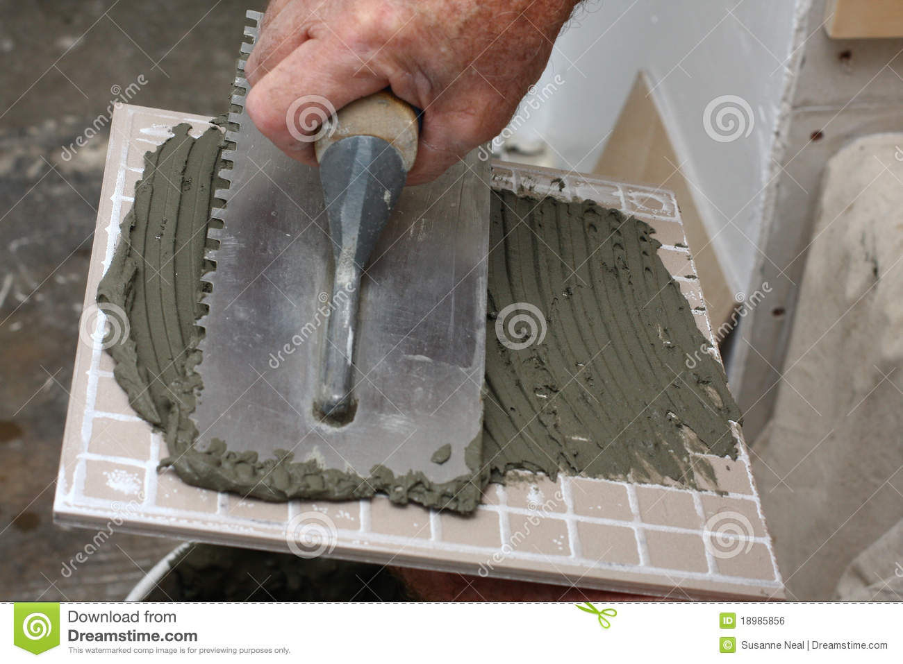 Thin Set Mortar Spread On Tile Stock Photo Image Of