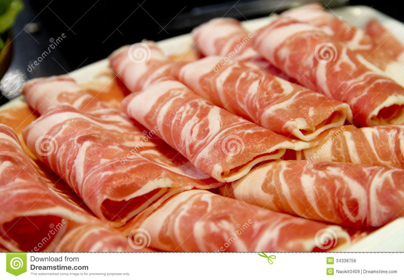 Thin Sliced Pork Meat Royalty Free Stock Image