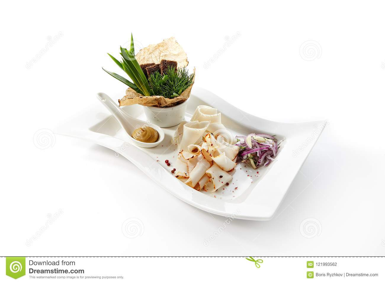 Thin Slices Of Raw Salted Pork Lard With Spices Stock Photo