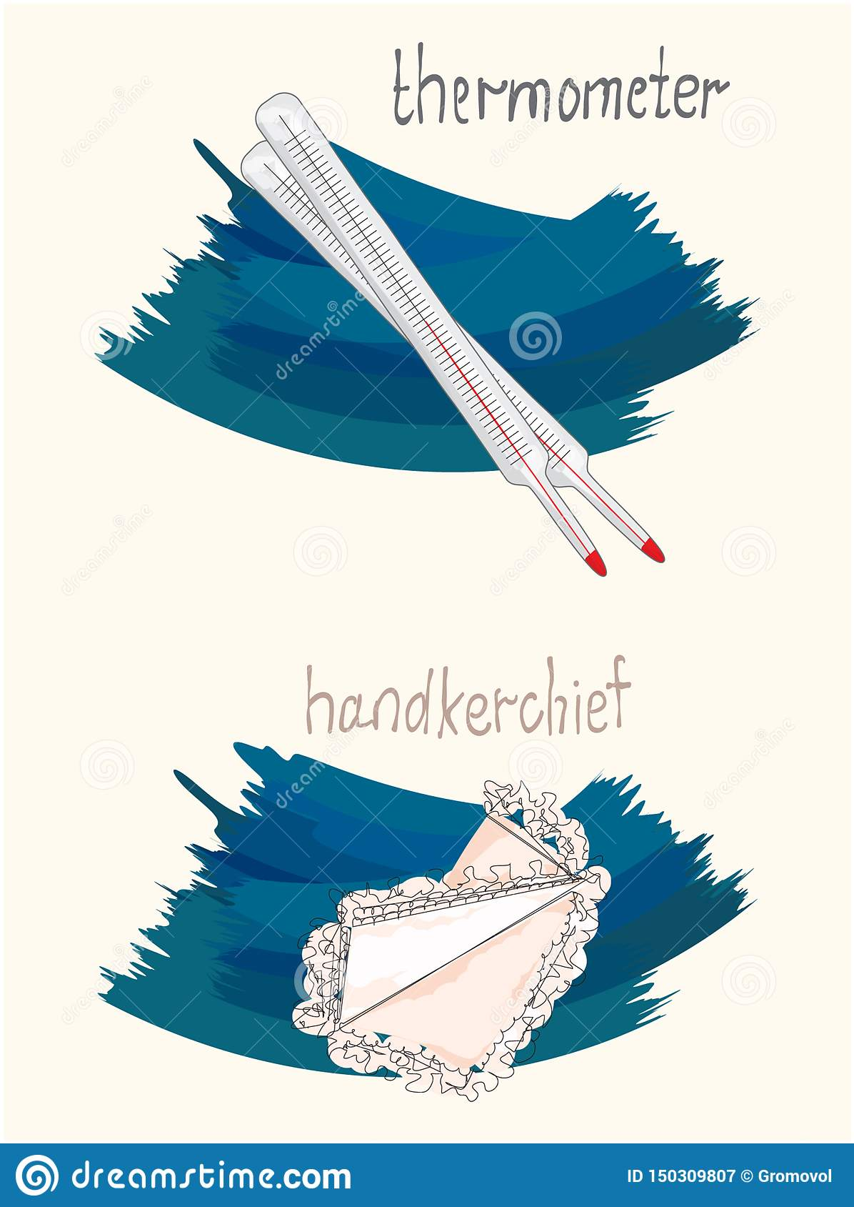 Vector illustration of handkerchief and thermometer