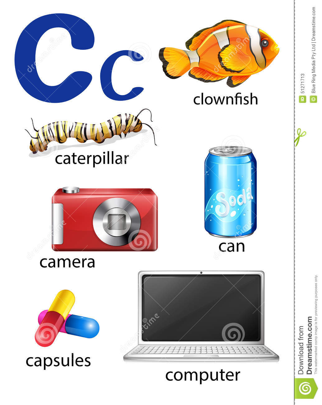 Things That Start With The Letter C Stock Vector   Illustration of