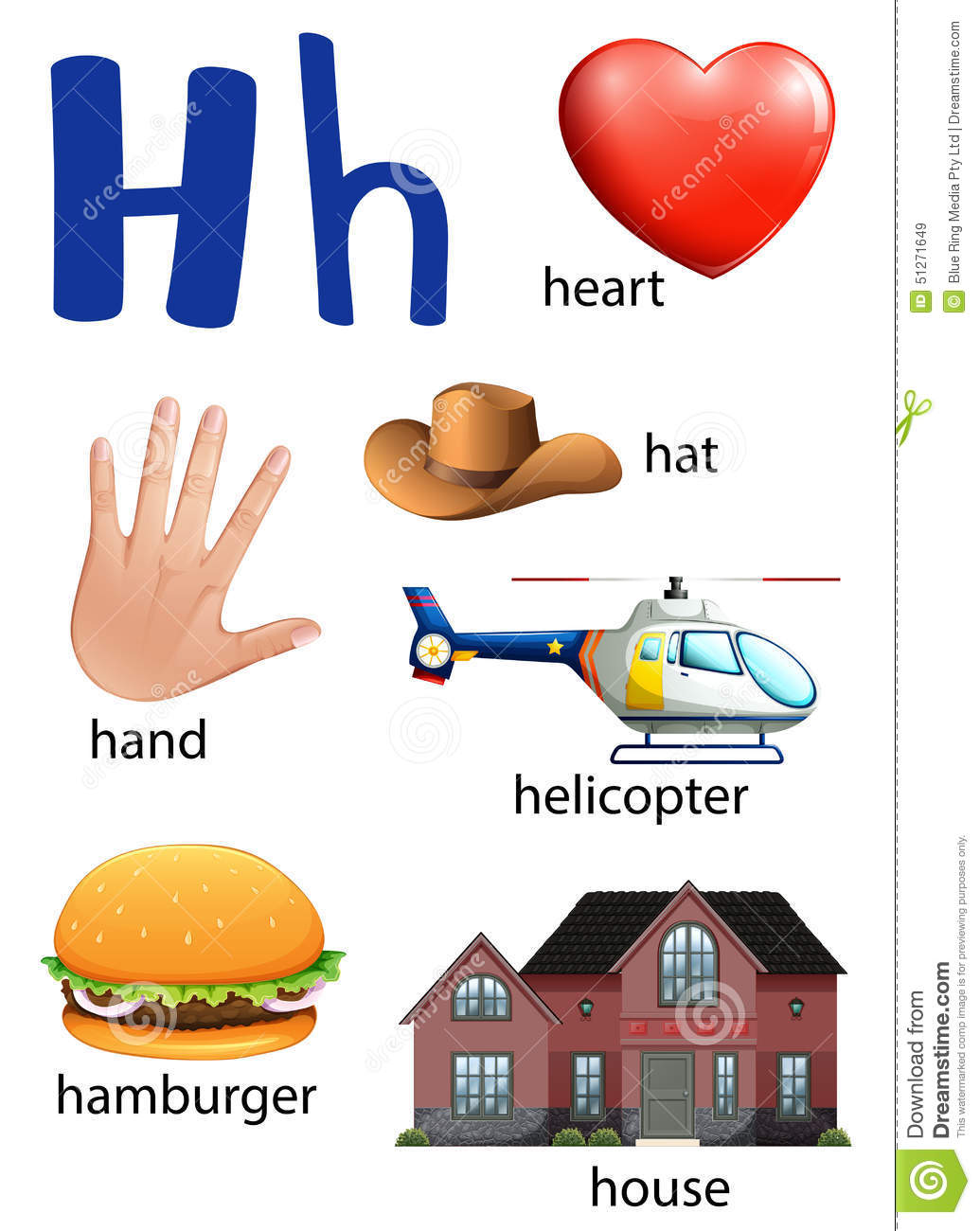 Things That Start With The Letter H Stock Vector - Image: 51271649