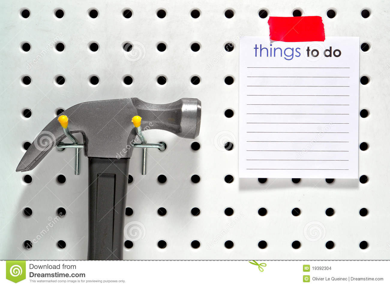 Things to do list and hammer on workshop pegboard stock for List of things to do when building a house