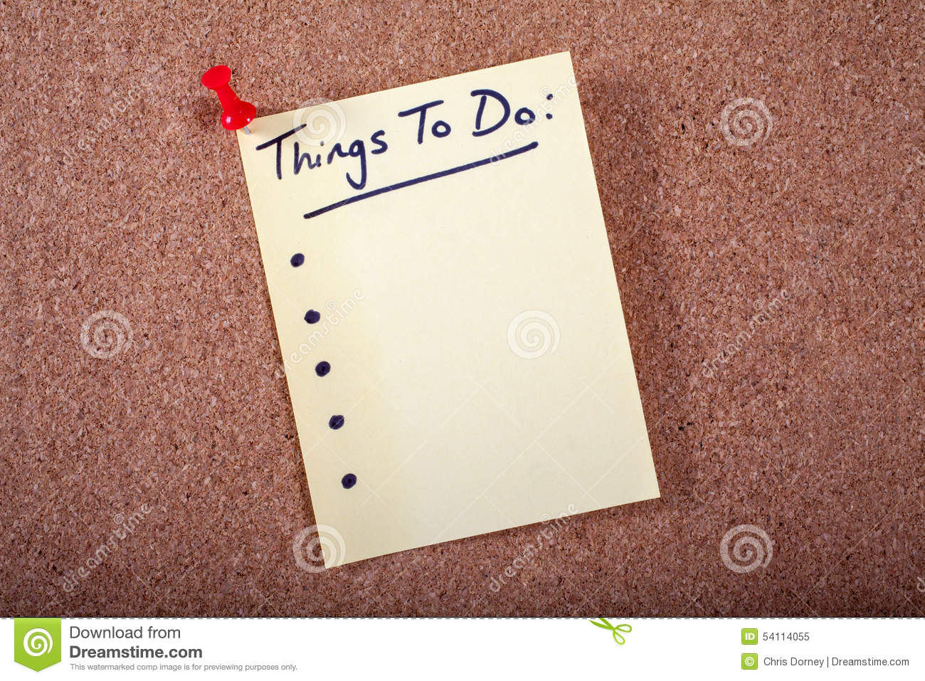 Things to do list stock image image of empty bulletin for Things that are empty