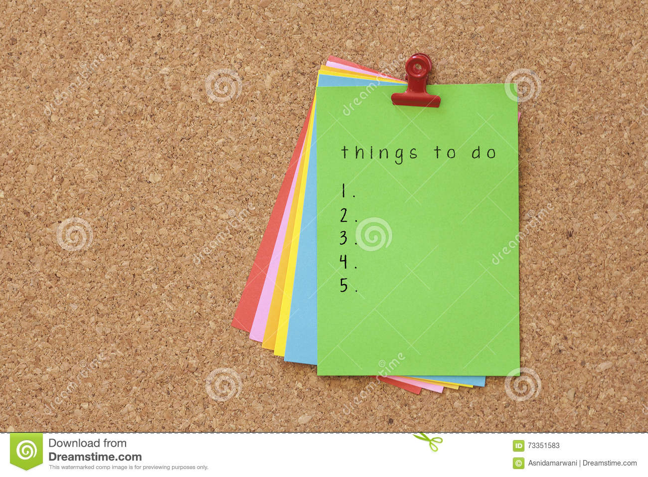 Things To Do Written On Color Sticker Notes Over Cork Board Back Stock Image Image Of Business Insurance 73351583