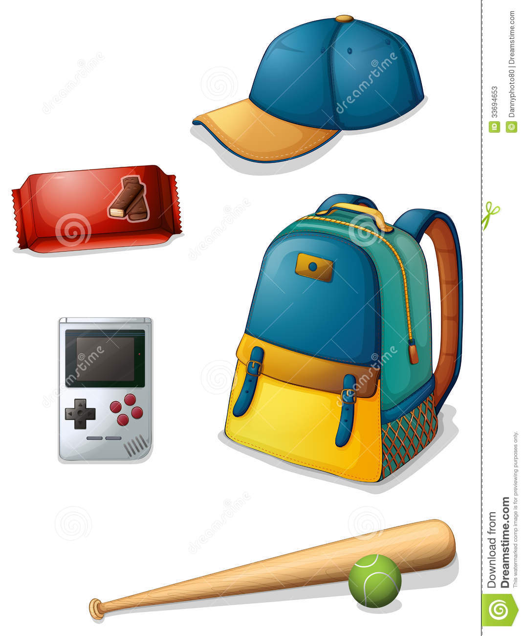 Things Used By A Typical Young Boy Stock Illustration