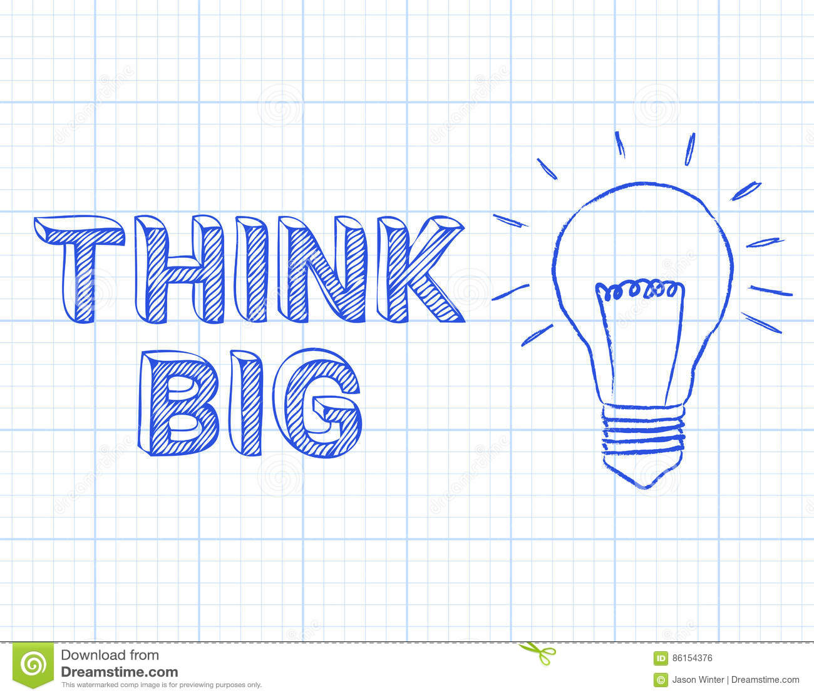 think big light bulb graph paper stock vector illustration of
