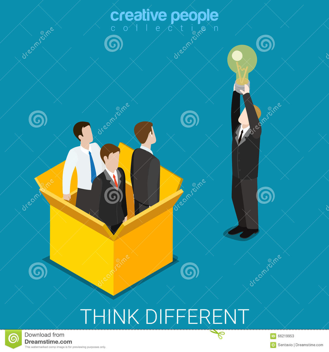 Think different box bulb idea businessman flat isometric vector