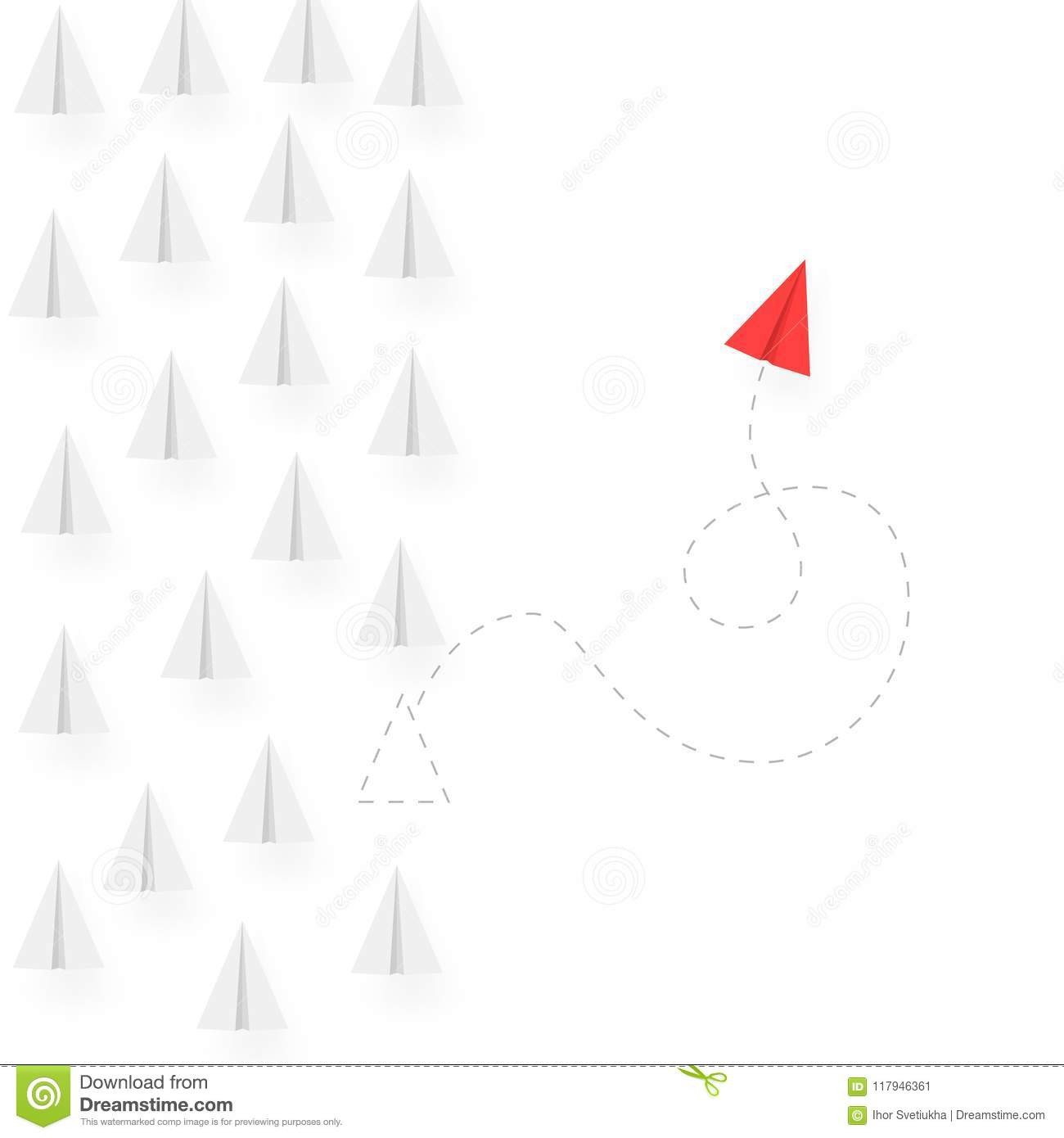 Think different business concept illustration. Red airplane changing direction and move different way. Vector