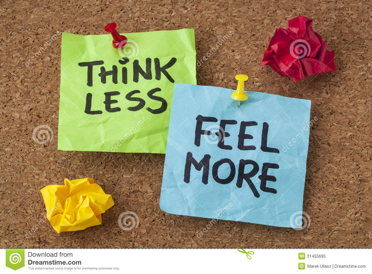 Think Less, Feel More Advice Stock Image - Image: 31455695