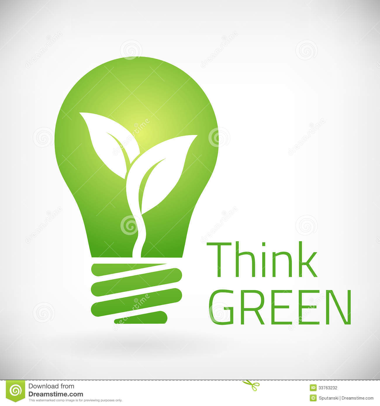 Think green eco bulb illustration. from bakground. layered.