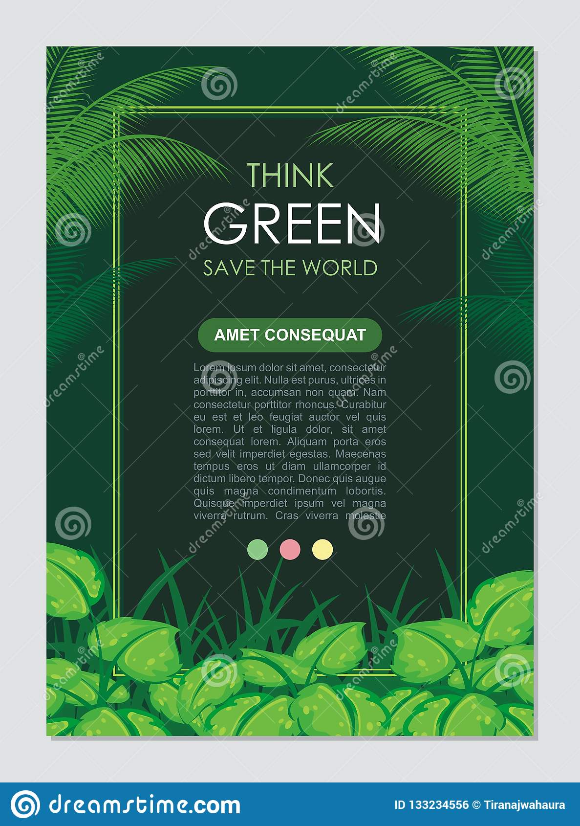 Think Green Frame and border. Go green leaves concept