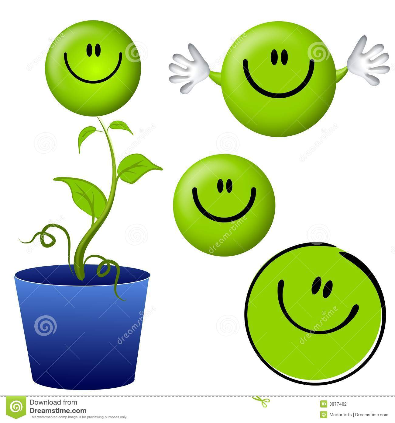 clip art illustration featuring a variety of green themed smiley ...