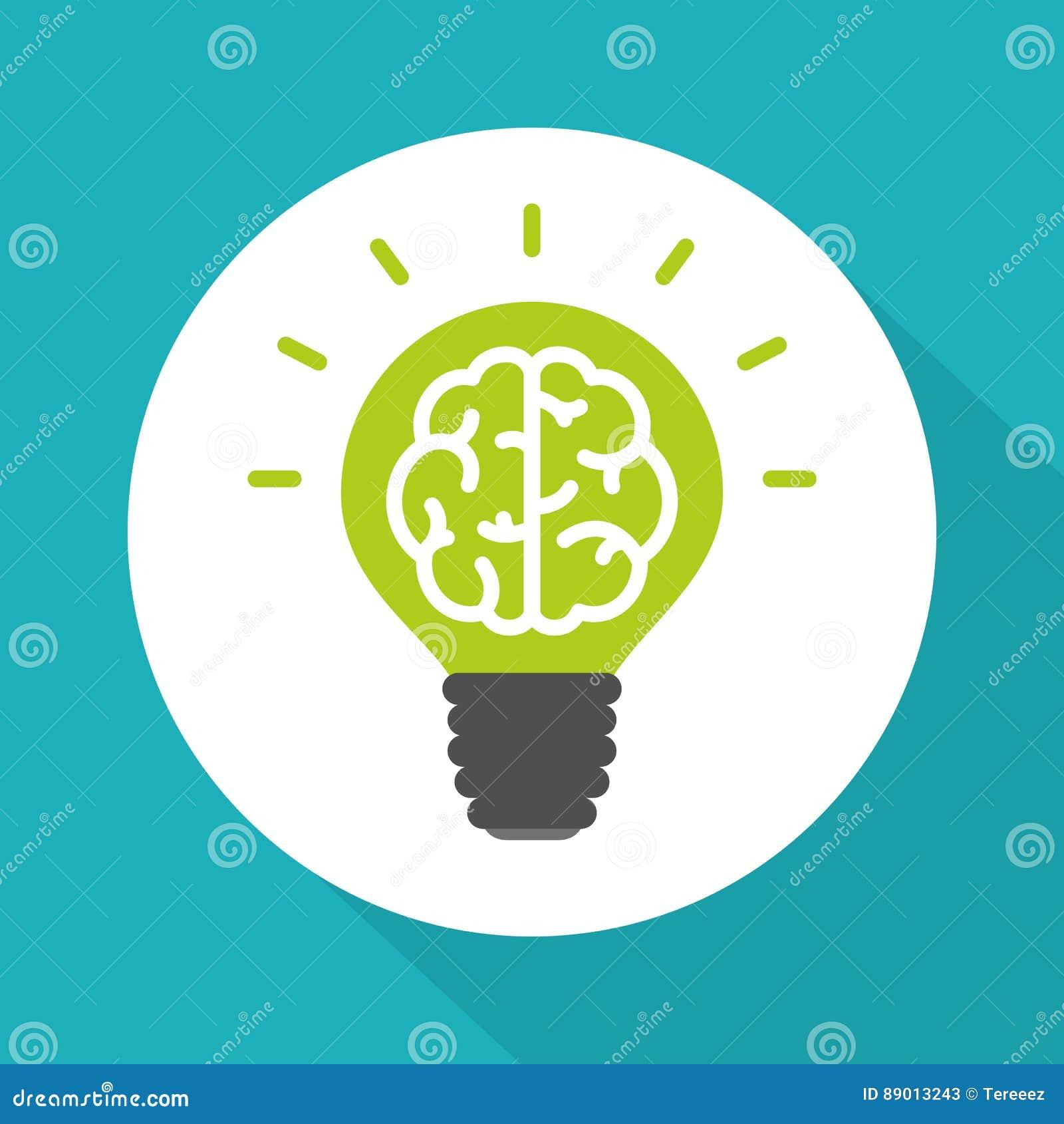 Think green symbol, brain in green lightbulb simple flat vector style