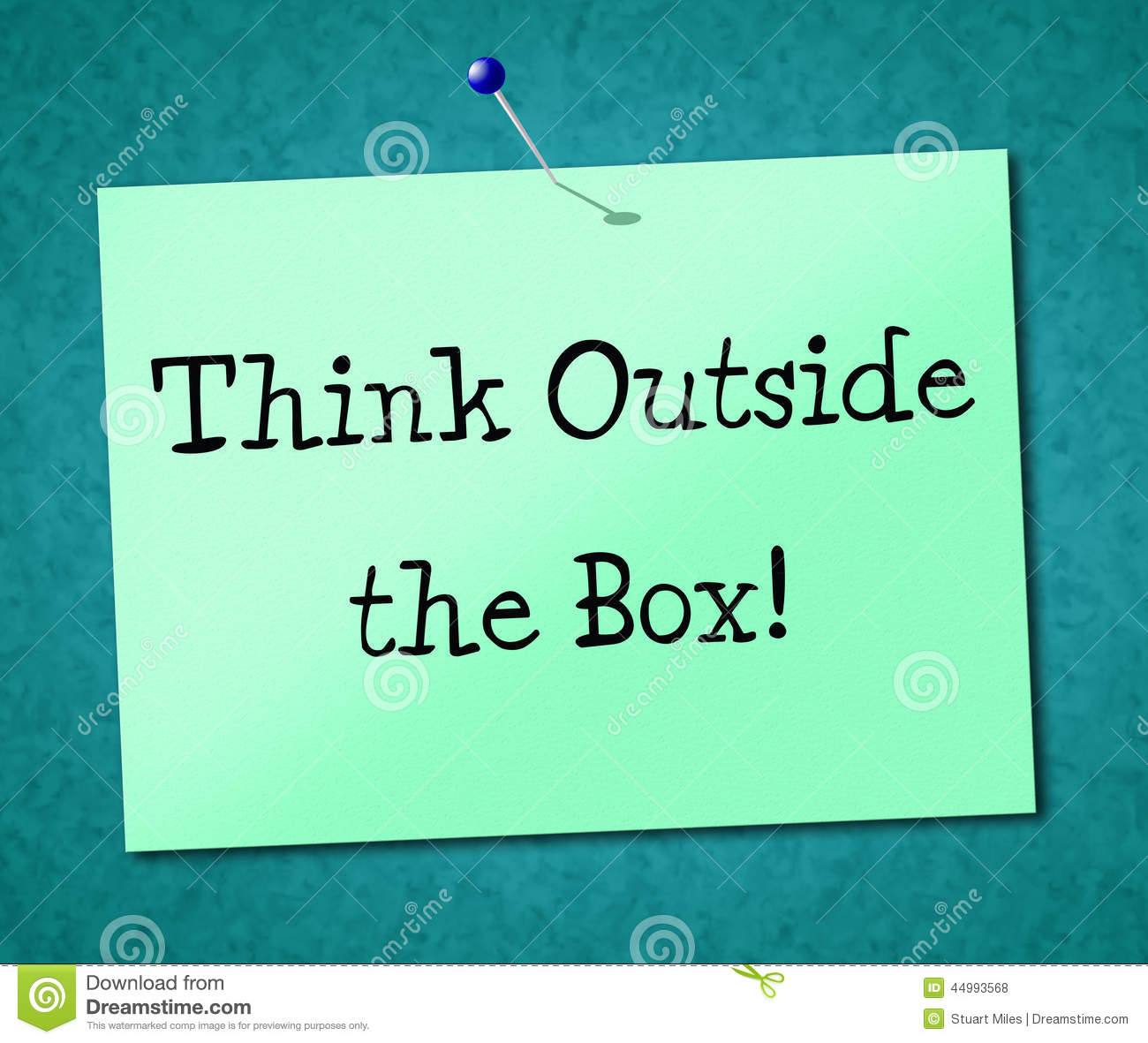 Think Outside Box Shows Originality Opinion And Ideas Stock