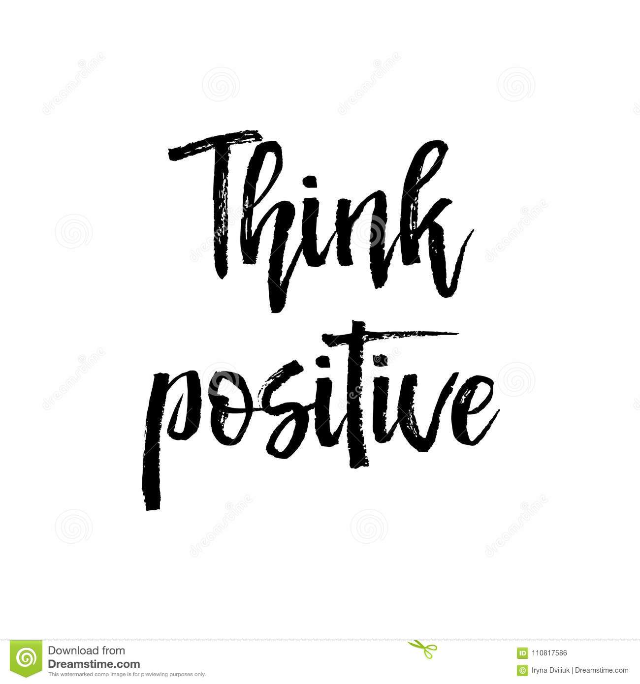 Think Positive Motivation Text Vector Illustration Stock ...
