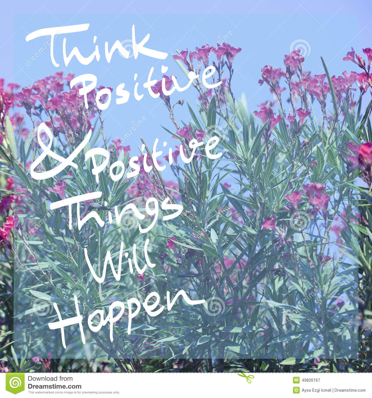 Think Positive Poster Stock Image Image Of Happy Happiness 49826167