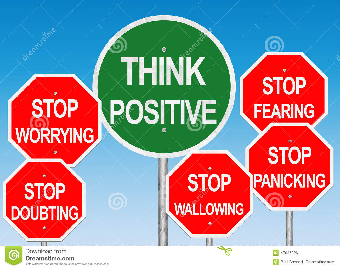 think positive road sign stock illustration image 47045926
