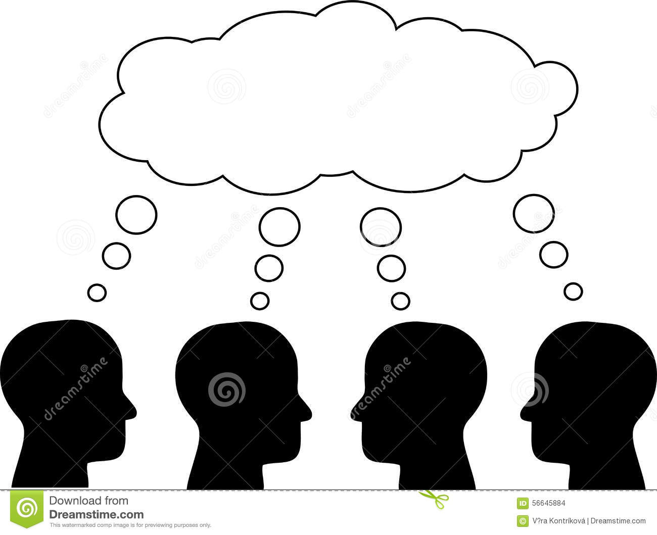 think tank  several heads thinking  vector  stock vector