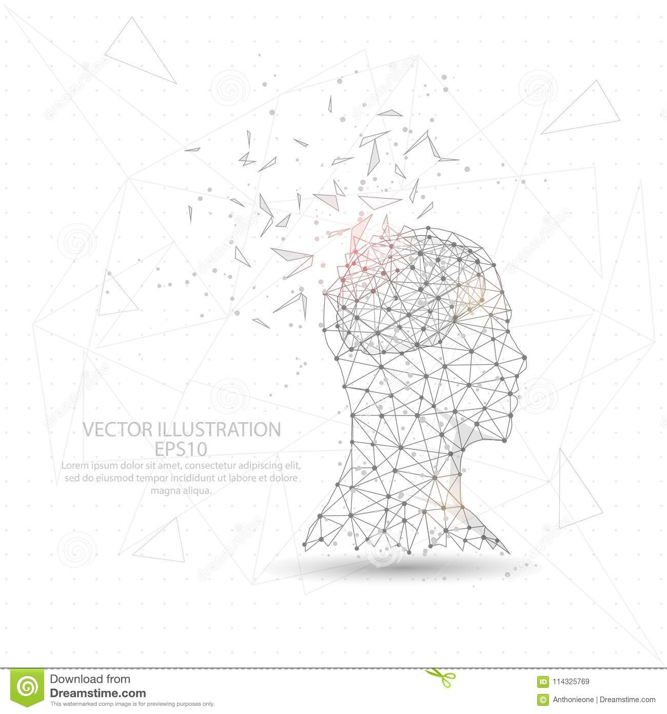 Thinker Man Head And Brain Digitally Drawn Low Poly Triangle Wire Picture Frame Diagram