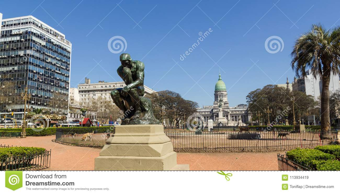The Thinker by Rodin on Congress square monument in Buenos Aires