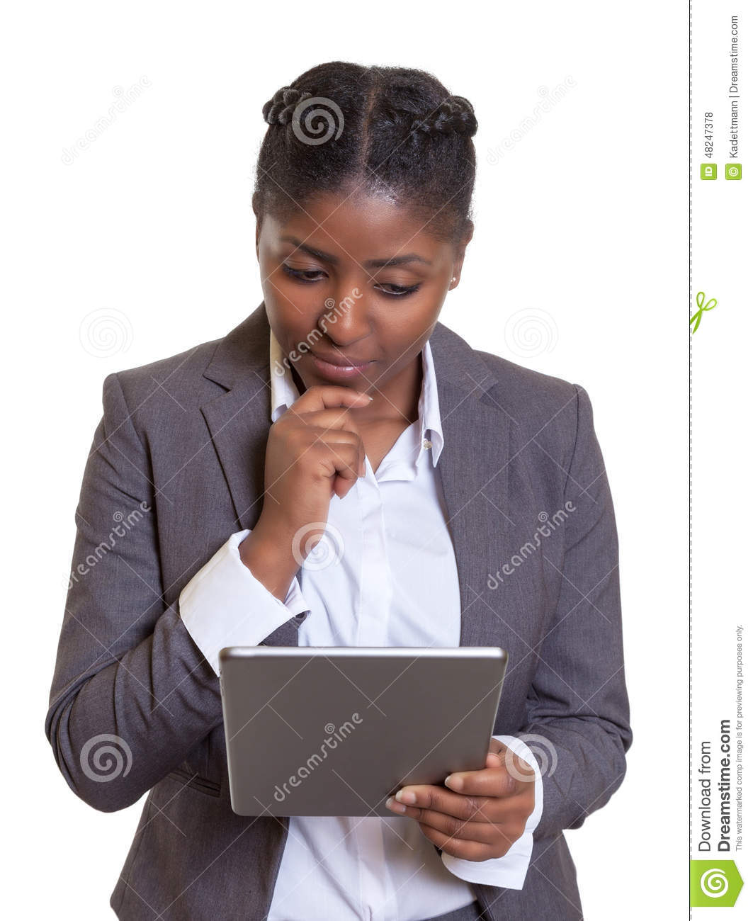 Thinking african businesswoman with modern tablet computer