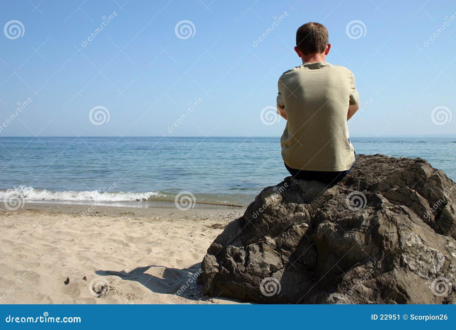 Thinking at beach