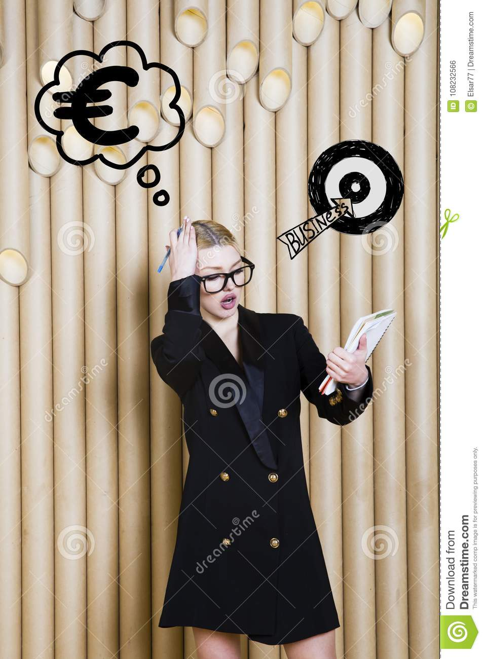 Thinking woman looking up on money sign in bubble and sketch target. Money concept on design background with lamps.