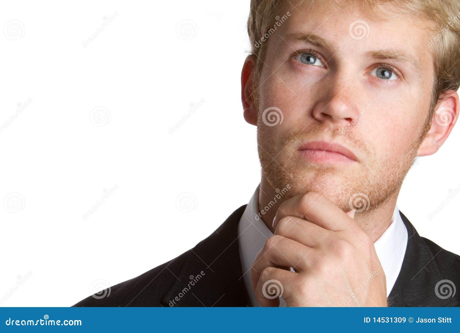 Thinking Businessman stock image. Image of thoughtful ...