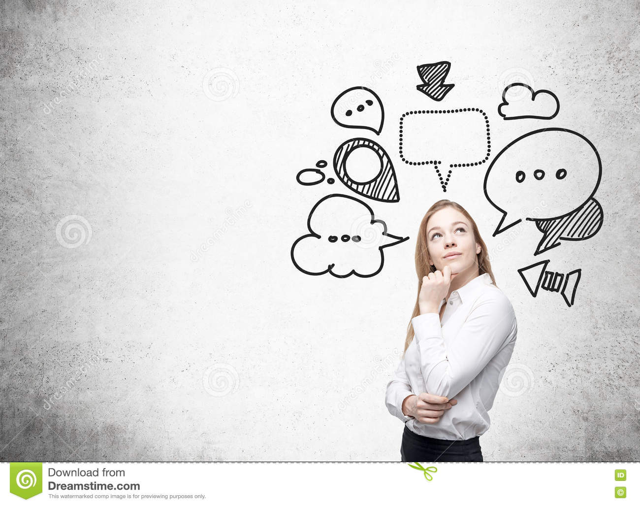Thinking Businesswoman With Speech Bubbles Stock Image