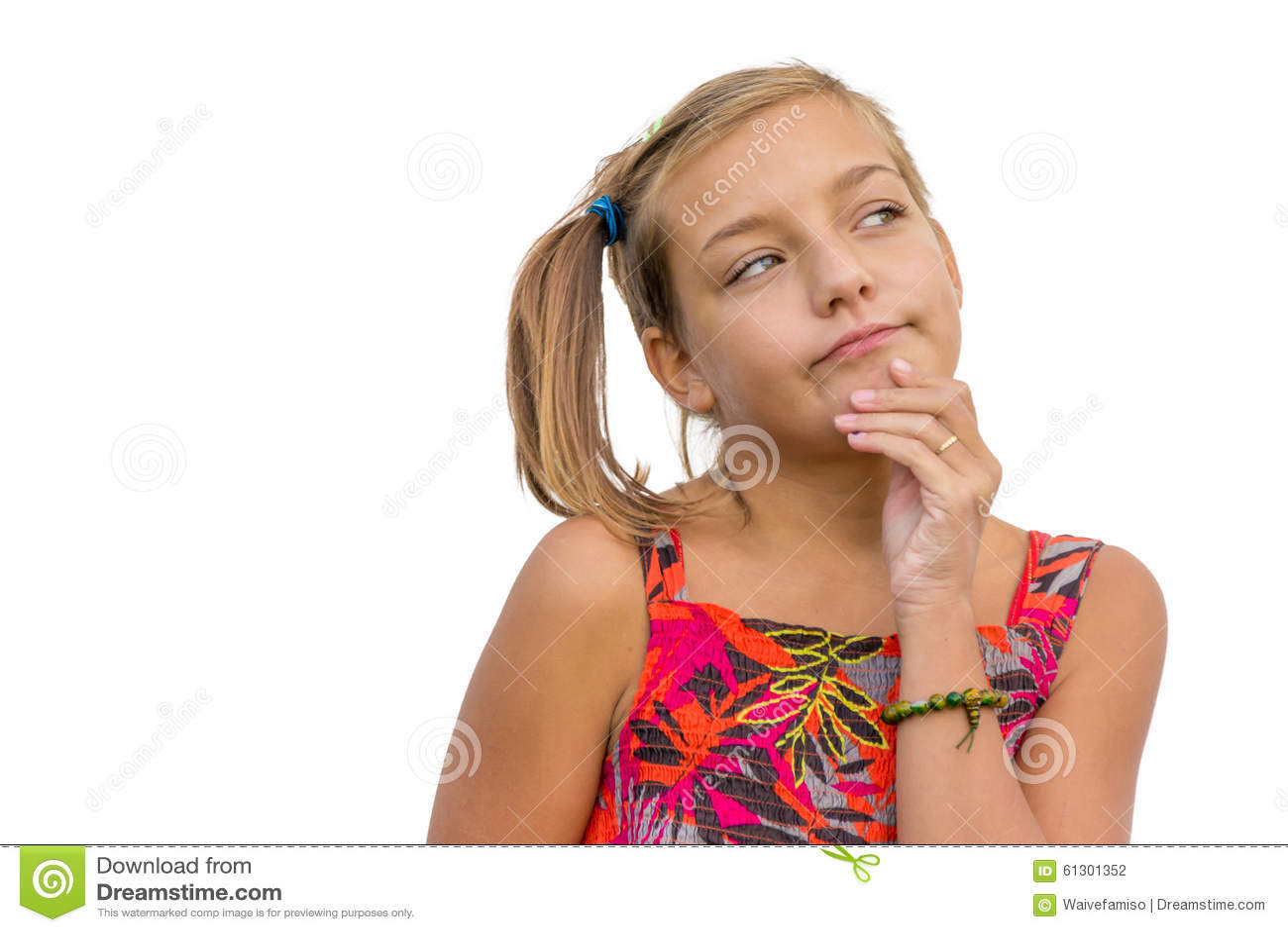thinking child girl stock photo