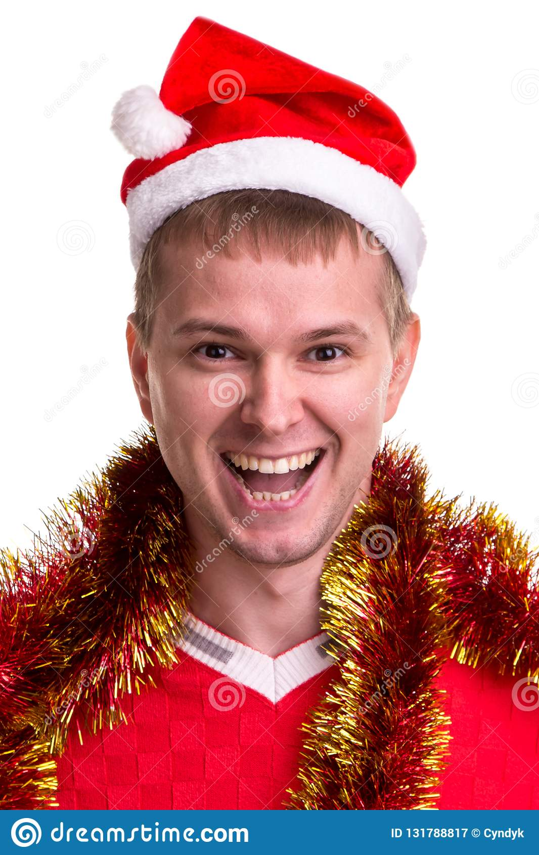 Thinking For Christmas Gift Ideas Funny Smiling Guy With A Santa