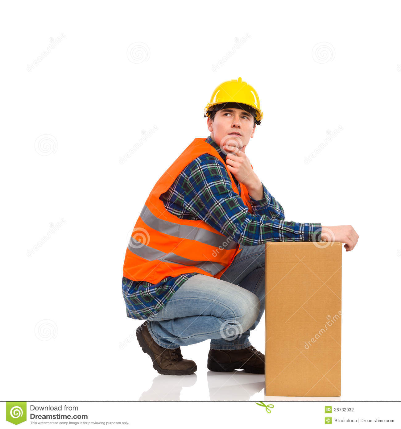 Thinking Construction Worker. Stock Photo