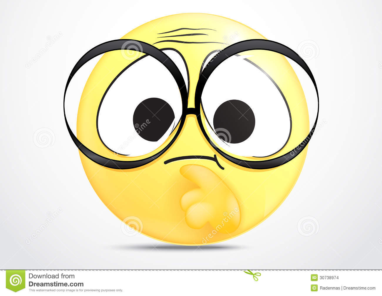 Illustration of thinking emoticon with glasses on white.