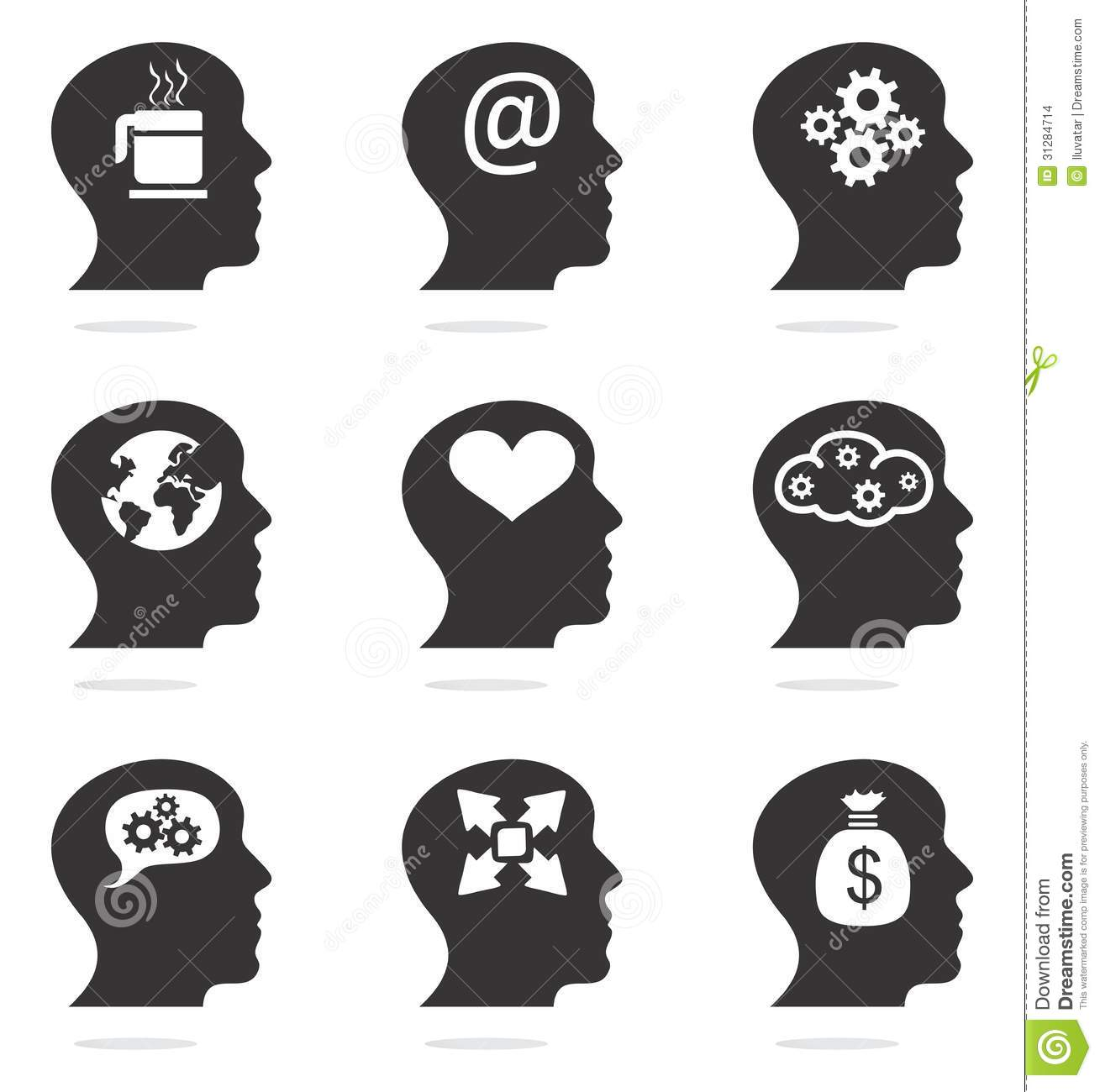 Human Head Silhouettes With Ideas Stock Images - Image ...