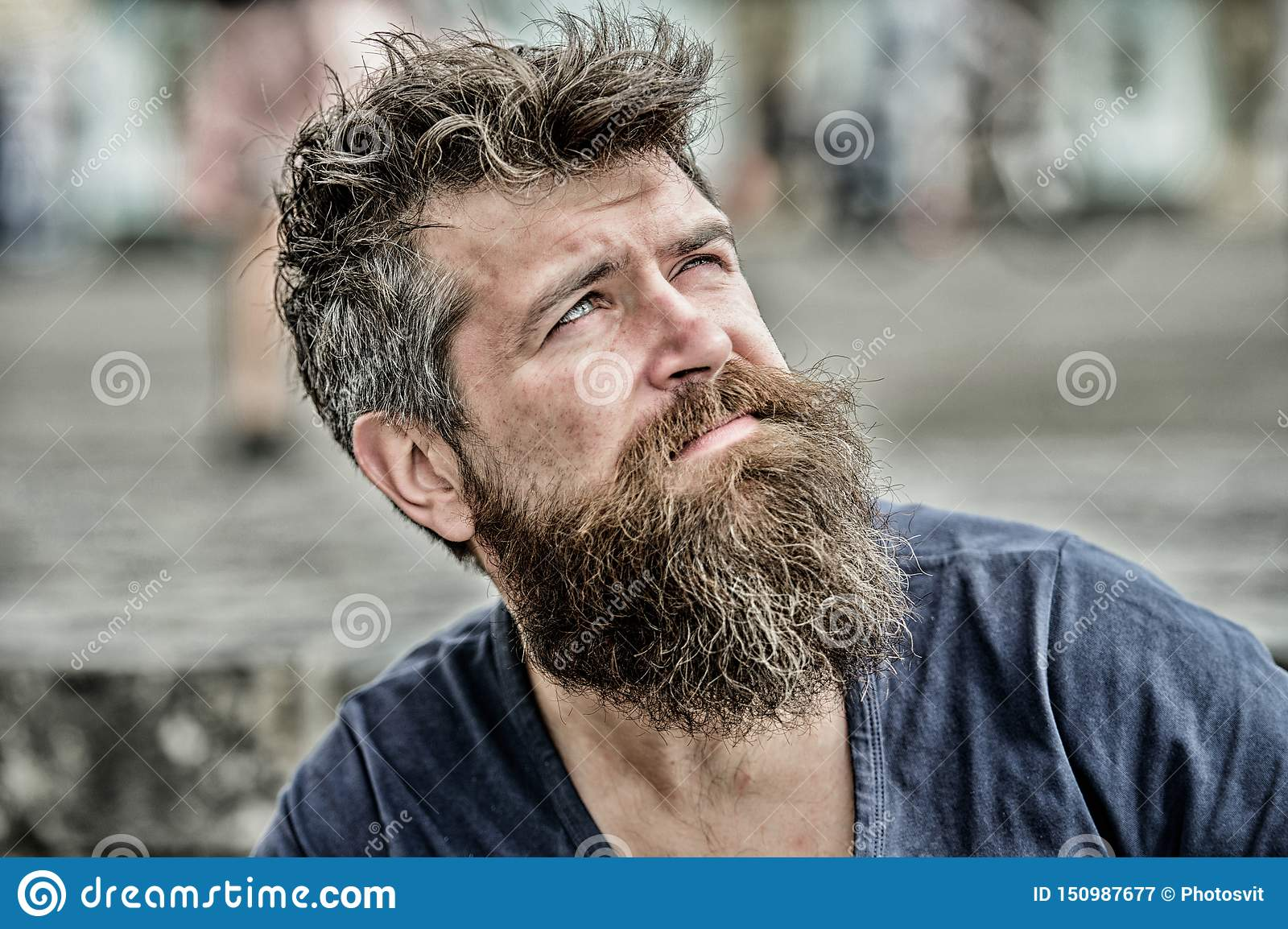 Thinking and hesitating. Bearded man concentrated face. Thoughtful mood concept. Making important choices. Man with