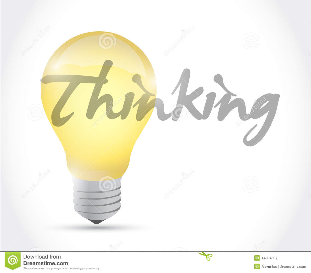 Thinking Idea Light Bulb Illustration Design Stock