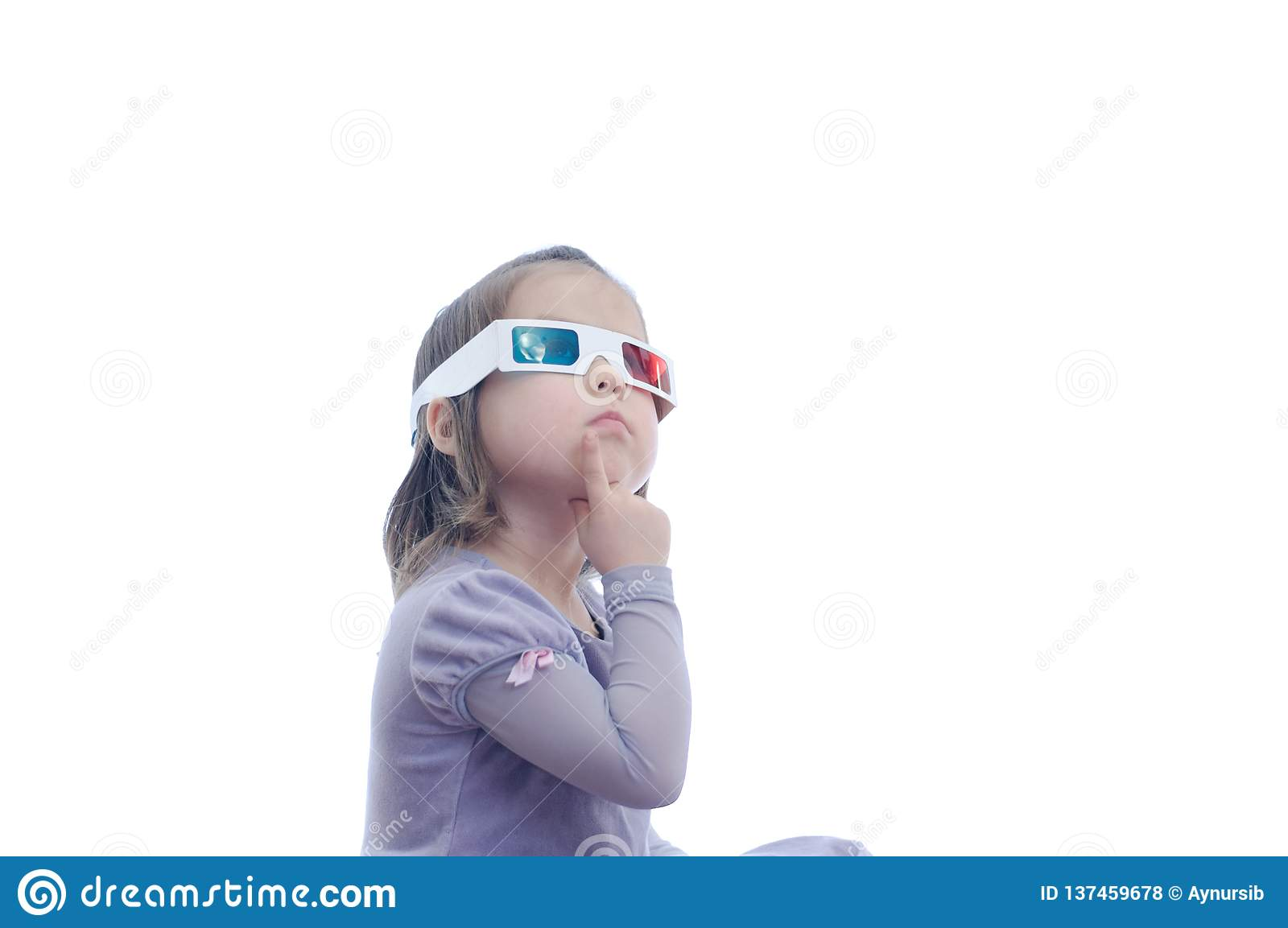 Thinking idea little baby girl in 3D anaglyph cinema glasses for stereo image system with polarization. 3D goggles wit