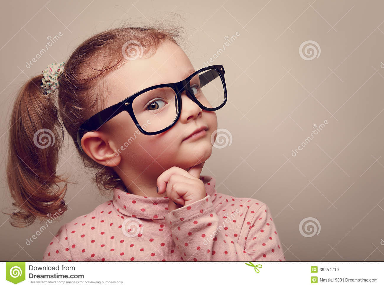 a81d26308a Thinking Kid Girl In Glasses Looking Happy Stock Image - Image of ...